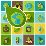 Fondo de la ecología con los iconos del ambiente Fotografía de archivo libre de regalías