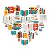 Fondo de la educación con los libros en diseño plano Fotografía de archivo