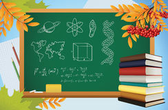 Fondo de la escuela con símbolos en la pizarra stock de ilustración
