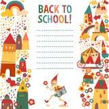 Fondo de la escuela de los niños con las casas y el muchacho w del cuento de hadas Imágenes de archivo libres de regalías