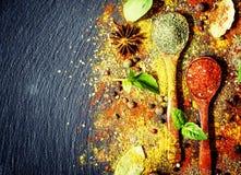 Fondo de la especia de la comida, visión flatlay, superior fotografía de archivo