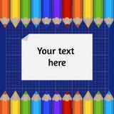 Fondo de la estera del corte y de la frontera de lápices coloreados Lugar para su texto Fotos de archivo