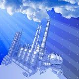 Fondo de la fábrica de productos químicos y de la tecnología ilustración del vector