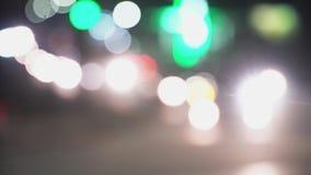 Fondo de la falta de definición de la ciudad Extracto Defocused de la calle de Los Angeles de las luces almacen de metraje de vídeo