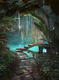 Fondo de la fantasía de la trayectoria de la selva Foto de archivo libre de regalías