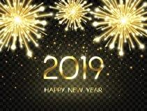 Fondo de la Feliz Año Nuevo 2019 con brillo, fuegos artificiales, chispas y estrellas Contexto del día de fiesta con el texto de