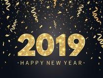 Fondo de la Feliz Año Nuevo 2019 con confeti, brillo, chispas y estrellas del oro Contexto feliz del día de fiesta con brillante ilustración del vector