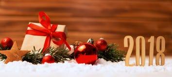 Fondo 2018 de la Feliz Año Nuevo con la decoración de la Navidad Fotografía de archivo libre de regalías
