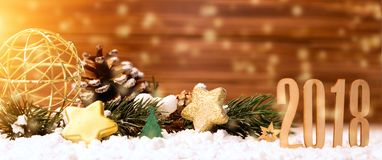 Fondo 2018 de la Feliz Año Nuevo con la decoración de la Navidad Imágenes de archivo libres de regalías