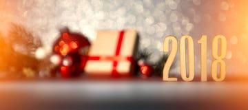 Fondo 2018 de la Feliz Año Nuevo con la decoración de la Navidad Foto de archivo