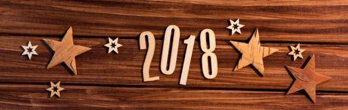 Fondo 2018 de la Feliz Año Nuevo con la decoración de la Navidad Imagen de archivo libre de regalías