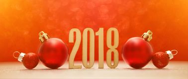 Fondo 2018 de la Feliz Año Nuevo con la decoración de la Navidad Imagenes de archivo