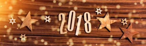Fondo 2018 de la Feliz Año Nuevo con la decoración de la Navidad Foto de archivo libre de regalías