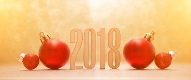 Fondo 2018 de la Feliz Año Nuevo con la decoración de la Navidad Fotografía de archivo