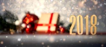 Fondo 2018 de la Feliz Año Nuevo con la decoración de la Navidad Fotos de archivo
