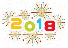 Fondo de la Feliz Año Nuevo 2018 con la edición de los fuegos artificiales segundos Imagen de archivo
