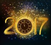 Fondo de la Feliz Año Nuevo 2017 con el reloj del oro stock de ilustración