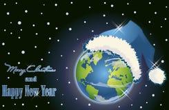 Fondo de la Feliz Año Nuevo con la bola del mundo de Navidad Foto de archivo libre de regalías
