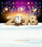 Fondo de la Feliz Año Nuevo con 2018, un reloj y fuegos artificiales Foto de archivo libre de regalías