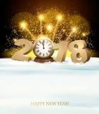 Fondo de la Feliz Año Nuevo con 2018 y fuegos artificiales Fotografía de archivo