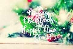 Fondo de la Feliz Año Nuevo de la Navidad de Congatulation Foto de archivo libre de regalías
