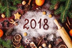 Fondo de 2018 de la Feliz Año Nuevo decoraciones de la Feliz Navidad Foto de archivo libre de regalías