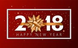 Fondo de la Feliz Año Nuevo del vector 2018 con el arco de oro del regalo Fotografía de archivo libre de regalías