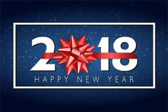Fondo de la Feliz Año Nuevo del vector 2018 con el arco rojo del regalo Fotos de archivo