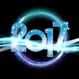 Fondo de la Feliz Año Nuevo del vector 2017 con la luz de neón Imagen de archivo