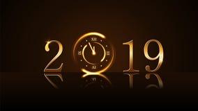Fondo de la Feliz Año Nuevo Minuto mágico de la cuenta descendiente cinco del reloj del oro Números de oro 2019 Luz del diseño de ilustración del vector