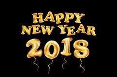 Fondo de la Feliz Año Nuevo 2018, puntos, marco del brillo del oro, globos de oro, negros, texto dibujado mano Concepto de la tar Fotos de archivo