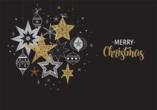 Fondo de la Feliz Navidad, bandera y tarjeta de felicitación elegantes, colección de copos de nieve, estrellas, decoraciones de N libre illustration