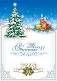 Fondo 2019 de la Feliz Navidad con el árbol de navidad y las velas Ilustración del vector ilustración del vector