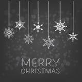 Fondo de la Feliz Navidad con el copo de nieve de la ejecución Fotografía de archivo
