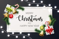 Fondo de la Feliz Navidad con el elemento de la Navidad stock de ilustración