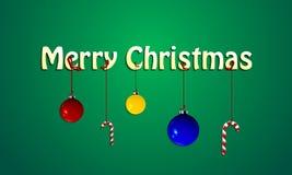 Fondo de la Feliz Navidad con las bolas y las cintas del caramelo encendido Imágenes de archivo libres de regalías