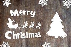 Fondo de la Feliz Navidad con los caracteres de Santa Claus y de los ciervos Fotografía de archivo libre de regalías