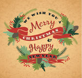 Fondo de la Feliz Navidad con tipografía Fotos de archivo libres de regalías