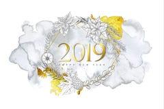 Fondo de la Feliz Navidad 2019 y de la Feliz Año Nuevo con las plantas a mano del invierno, la forma geométrica de oro y la textu stock de ilustración
