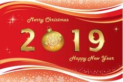 Fondo 2019 de la Feliz Navidad y de la Feliz Año Nuevo Ilustración del vector ilustración del vector