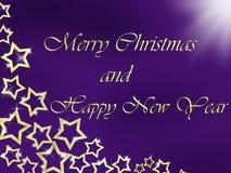 Fondo de la Feliz Navidad y de la Feliz Año Nuevo con las letras y las estrellas de oro Foto de archivo libre de regalías