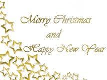 Fondo de la Feliz Navidad y de la Feliz Año Nuevo con las letras y las estrellas de oro Imágenes de archivo libres de regalías