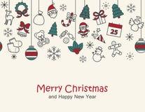 Fondo de la Feliz Navidad y de la Feliz Año Nuevo, impresión de tarjeta, seamle Fotografía de archivo