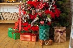 Fondo de la Feliz Navidad y del Año Nuevo Fotografía de archivo
