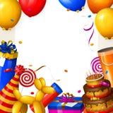 Fondo de la fiesta de cumpleaños con los globos, la torta, las cajas de regalo, la piruleta, el confeti y cintas Lugar para su te Fotografía de archivo libre de regalías