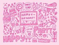 Fondo de la fiesta de cumpleaños del garabato Imagen de archivo libre de regalías