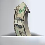 Fondo de la flecha de 100 dólares Imagen de archivo