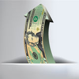 Fondo de la flecha de 20 dólares Fotografía de archivo