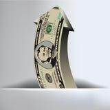 Fondo de la flecha de 50 dólares Fotografía de archivo libre de regalías