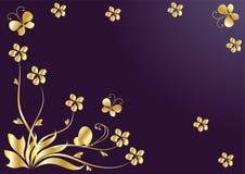 Fondo de la flor con las mariposas. Oro Fotos de archivo